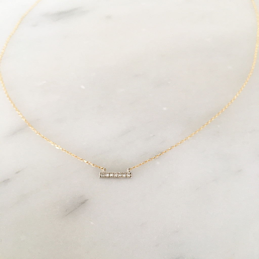 Mini Solid Gold Diamond Bar Necklace - Solid Gold
