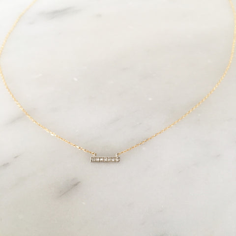 Mini solid gold diamond bar necklace - yellow gold chain - with white gold bar with diamonds