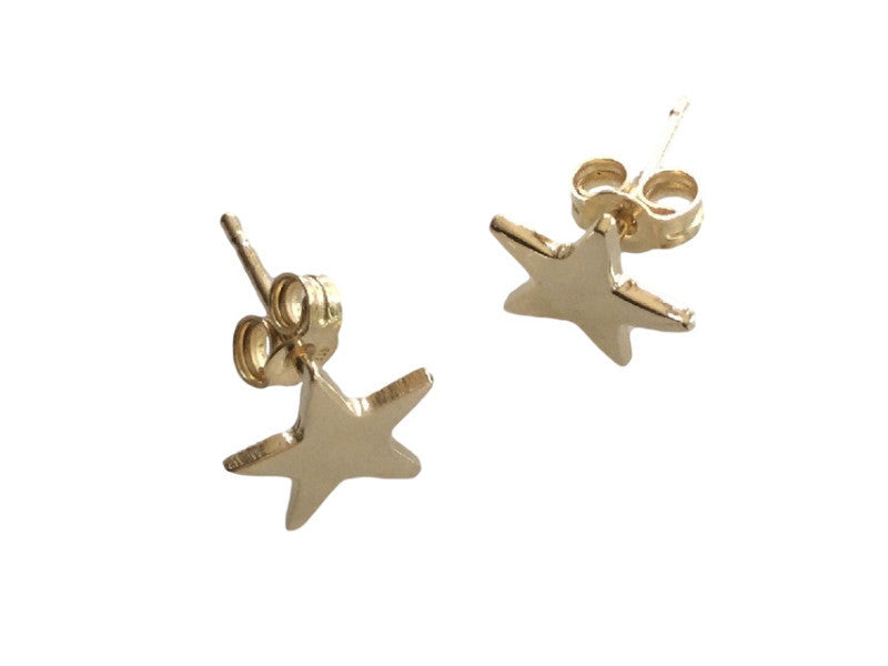 solid gold Star Earrings- AVAILABLE IN YELLOW OR WHITE GOLD