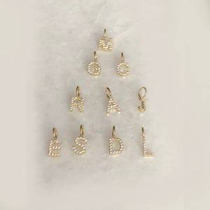 Solid Gold CZ Hanging Initial Cut-Outs