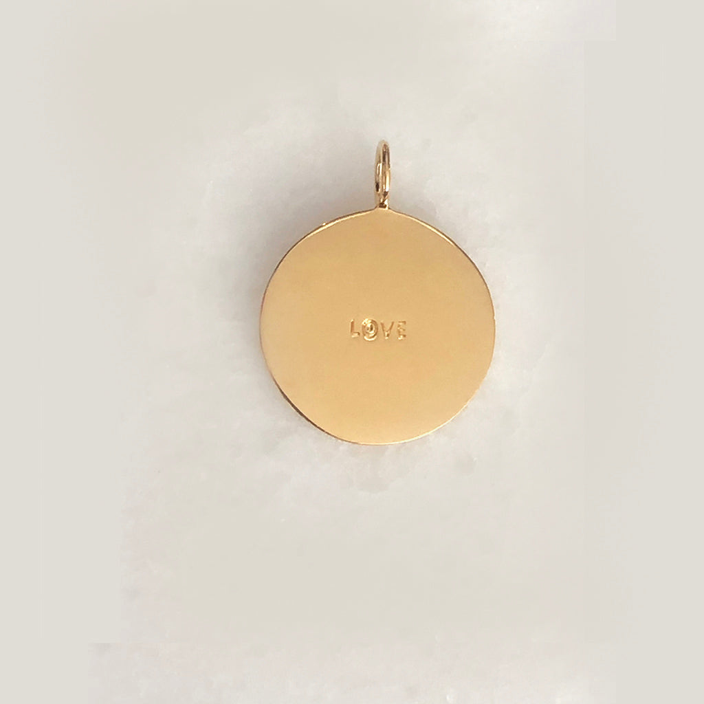 """It All Starts With ""Love"" Charm- Comes In 18K Yellow Gold Vermeil, British Sterling, Solid Yellow, White & White Gold"