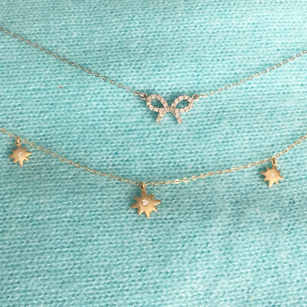 DIAMOND BOW & STARBURST NECKLACES- EACH SOLD SEPARATELY - SOLID GOLD
