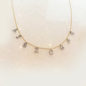Mini Diamond Initials on a Line Necklace - Solid Gold