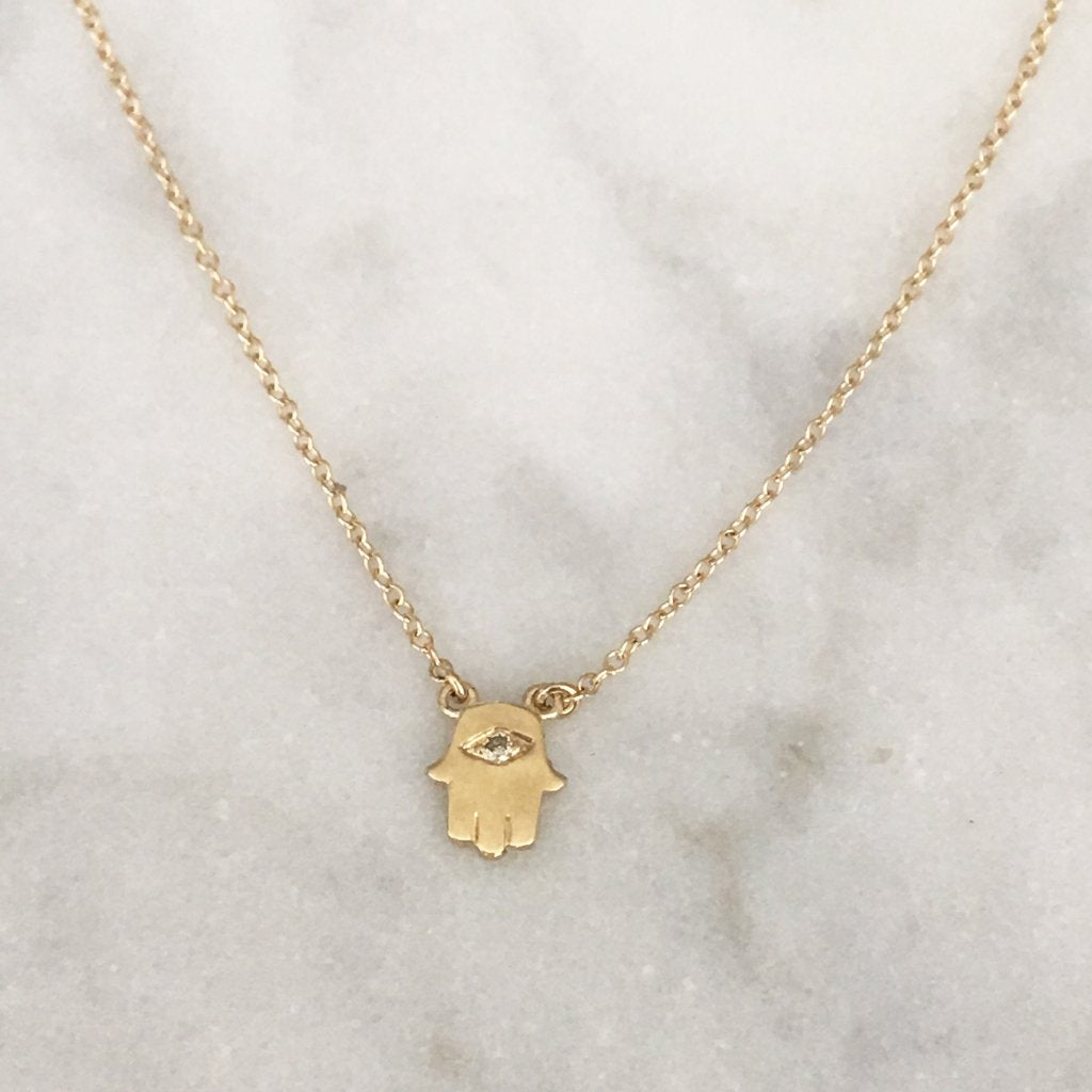 Hamsa Necklace with One Tiny Diamond - Solid Gold