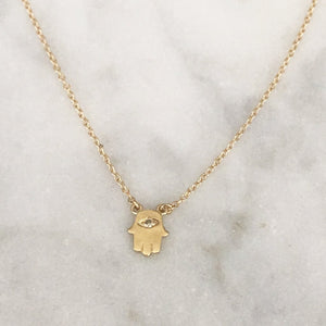 Hamsa Necklace With One Tiny Diamond In Solid Gold