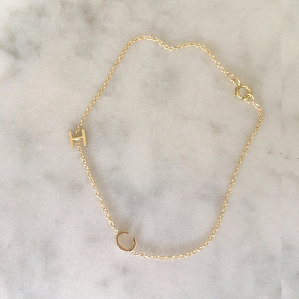 SHOP THE LOOK - MINI INITIAL BRACELET IN SOLID GOLD