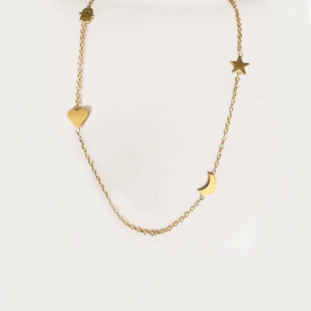 SOLID GOLD BABY CHARM NECKLACE WITH HEART, MOON, HAMSA AND STAR