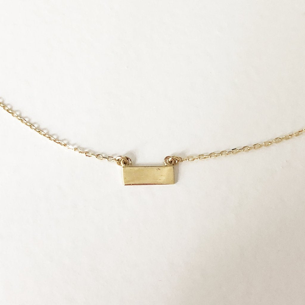 Plain Bar Necklace - Solid Gold