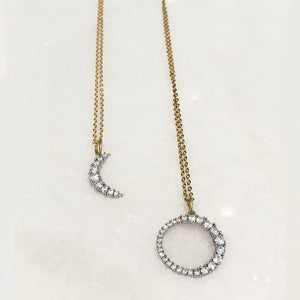 The Sun Necklace - Rhodium Plated with CZ Stones