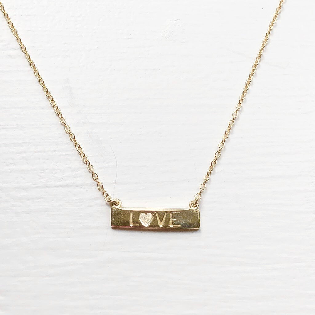 SOLID GOLD LOVE BAR NECKLACE