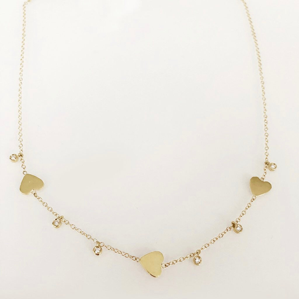Follow Your Heart Necklace With Diamond Dangles In Solid Gold