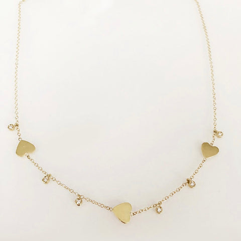 SOLID GOLD FOLLOW YOUR HEART NECKLACE WITH DIAMOND DANGLES