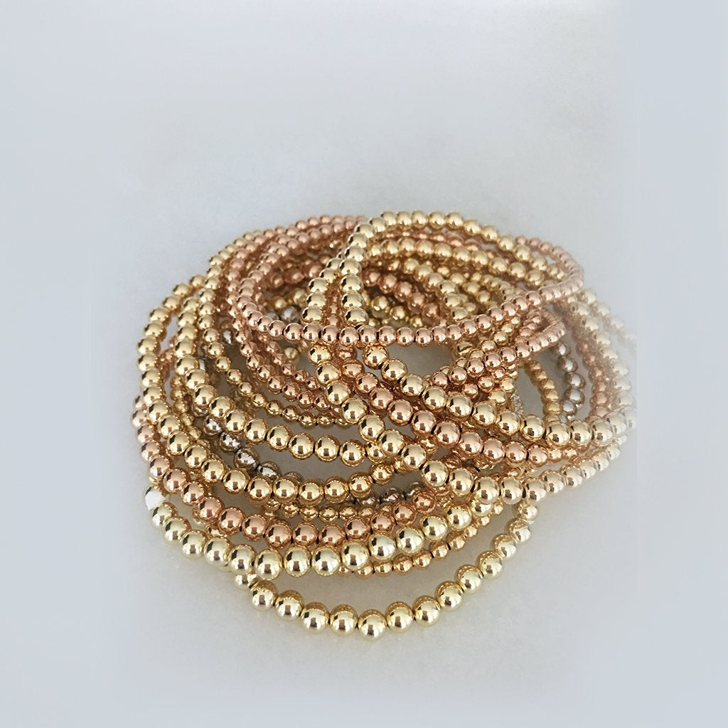 gold fill ball bracelet each sold separately- pink, yellow or white
