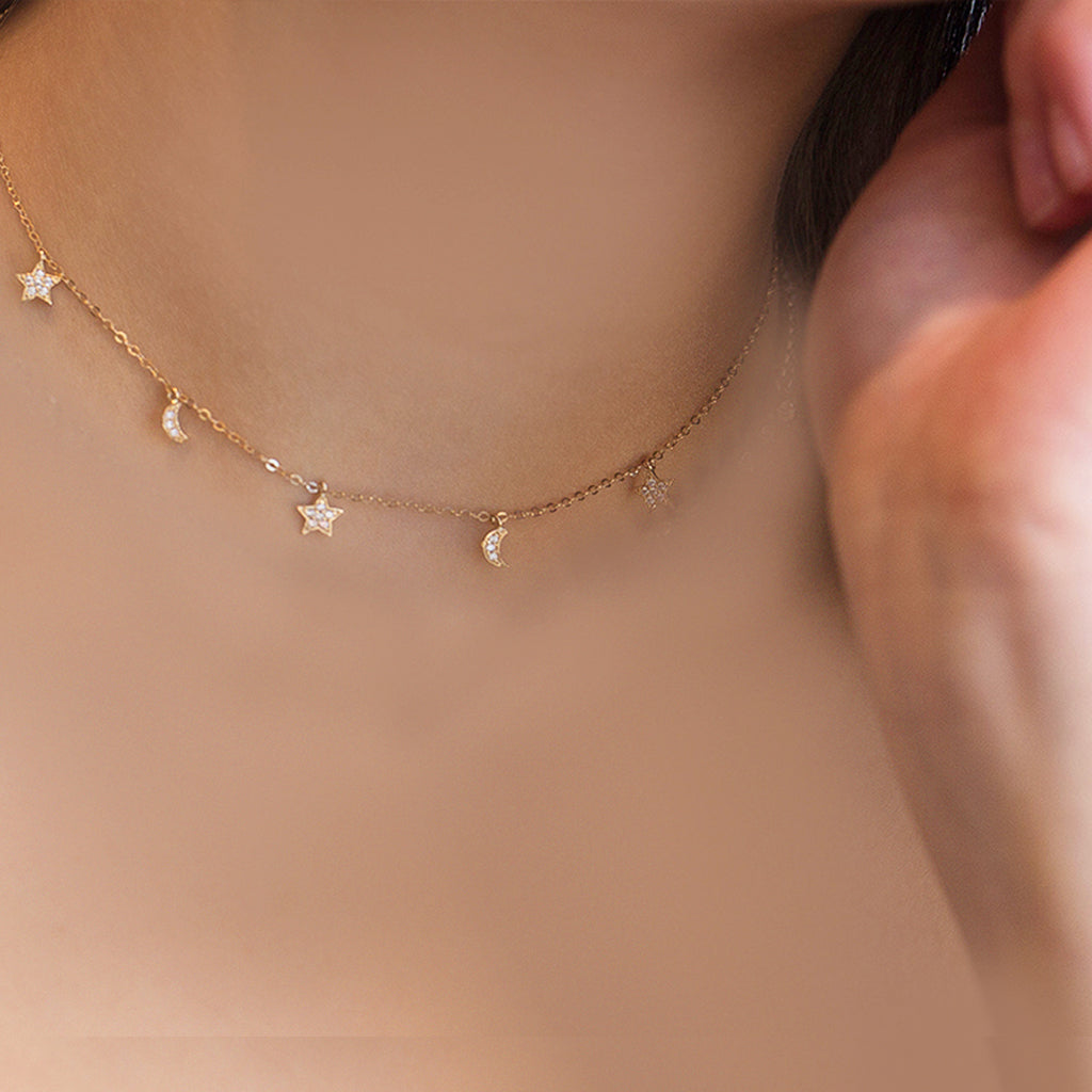 Adjustable CZ Solid Gold Moon & Stars 14-16 Inch Necklace All In One- can also be worn as a choker
