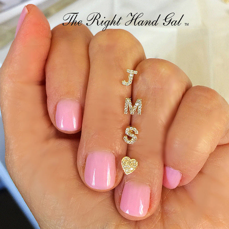 BRAND NEW -MAKE IT PERSONAL...... MINI INITIAL STUDS EACH SOLD SEPERATELY-  SOLID GOLD DIAMONDS OR WHITE ZIRCON- AFTER ORDERING PLEASE EMAIL US AND TELL US WHICH INITIALS YOU WOULD LIKE
