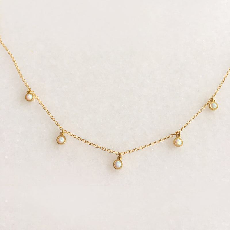 Opal Dangle Necklace - Solid Gold