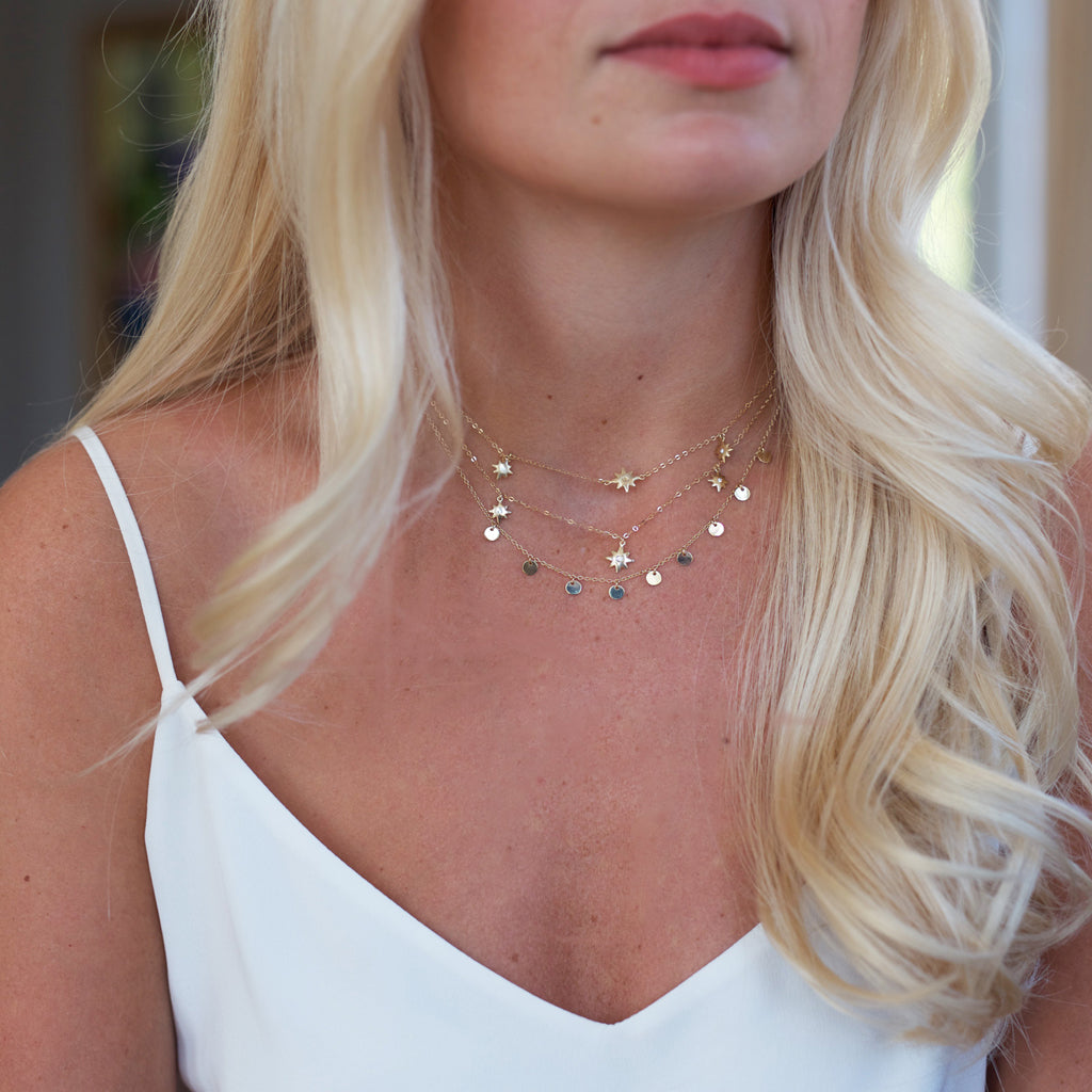 Shop The Look- Solid Gold Starburst & Disc Necklaces- Each Sold Separately