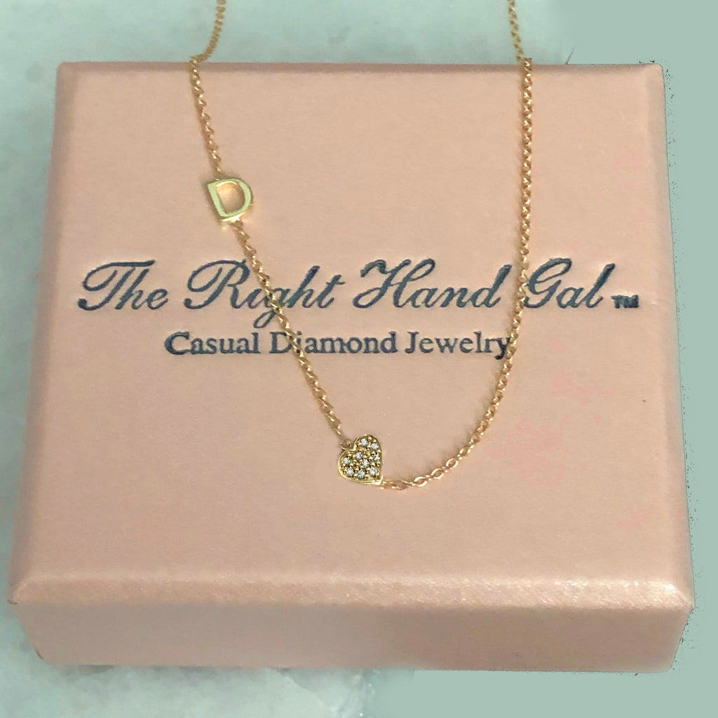 Mini Initial Necklace with a Pavee Diamond Heart - Solid Gold