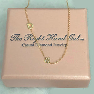 Mini Initial Necklace with a Pavee Diamond Heart - Solid Gold-Choose as Many Initials as You Desire