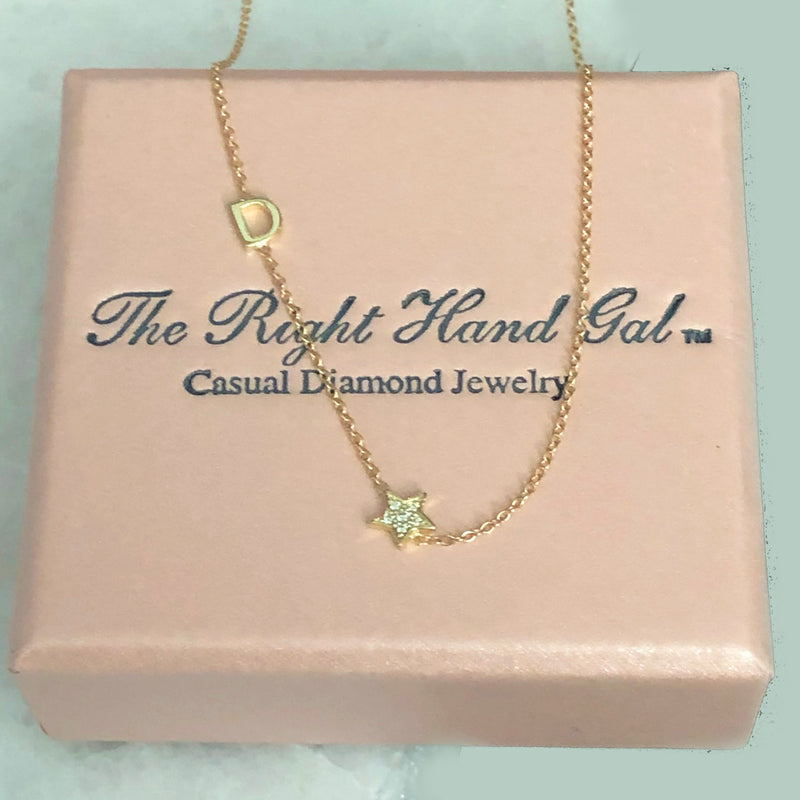 Mini Initial Necklace with a Pavee Diamond Star - Solid Gold