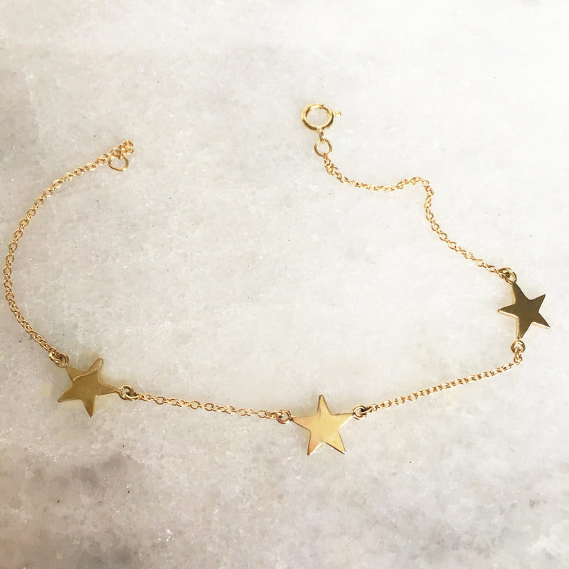 Three Star Bracelet In Solid Gold