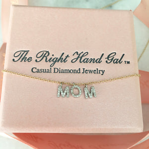 """Diamonds On A Line"" Mom Necklace In Solid Gold"