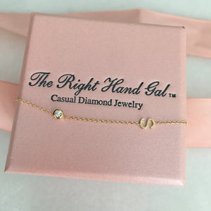 Mini Initial Necklace with a Diamond Bezel - Solid Gold