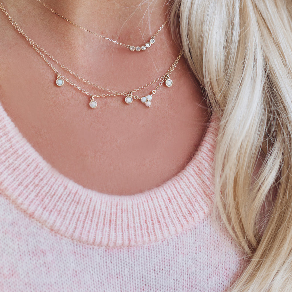 Opals & Diamond Necklaces Layered - Solid Gold