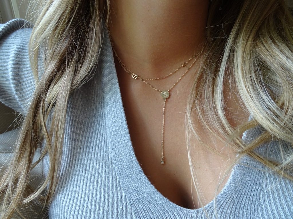 "mini diamond disc initial lariat necklace solid gold - please either add your initial selction in the ""NOTES: section upon checkout or simply email us as soon as you place order- all simple!"