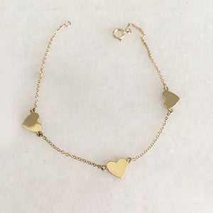 Three Heart Bracelet - Solid Gold
