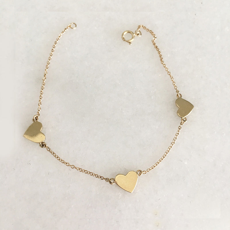 Three Heart Bracelet In Solid Gold