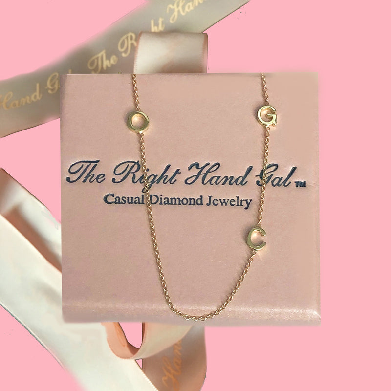 Mini Initial Necklace -  You Can Choose 3 Initials- Solid Gold