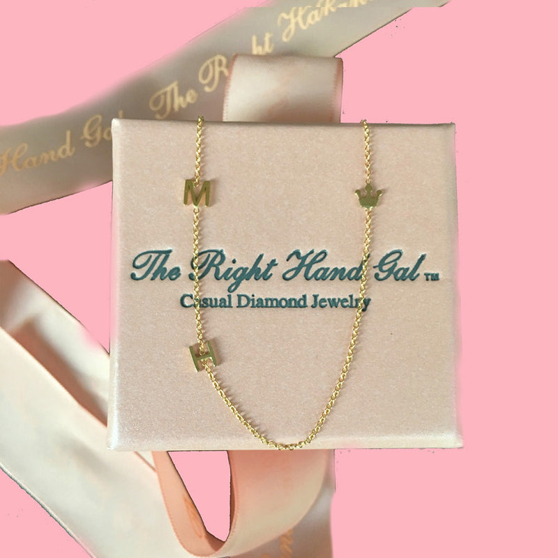 The Crown Jewel Mini Initial Necklace In Solid Gold- In Honour Of The Royal Couple