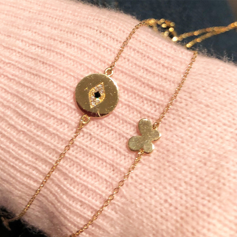 Baby Butterfly Bracelet Or A Diamond Evil Eye Bracelet - Sold Separately - Solid Gold