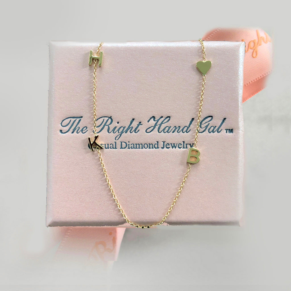 Mini Initial Necklace with a Baby Heart - Solid Gold
