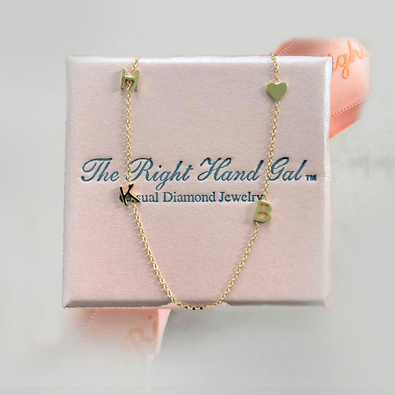 Mini Initial Necklace With A Baby Heart In Solid Gold- Choose As Many Initials As You Would Like