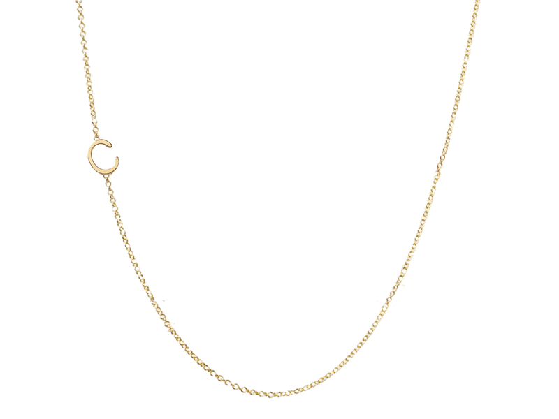 Mini Initial Necklace -1 Initial of your choice - Solid Gold