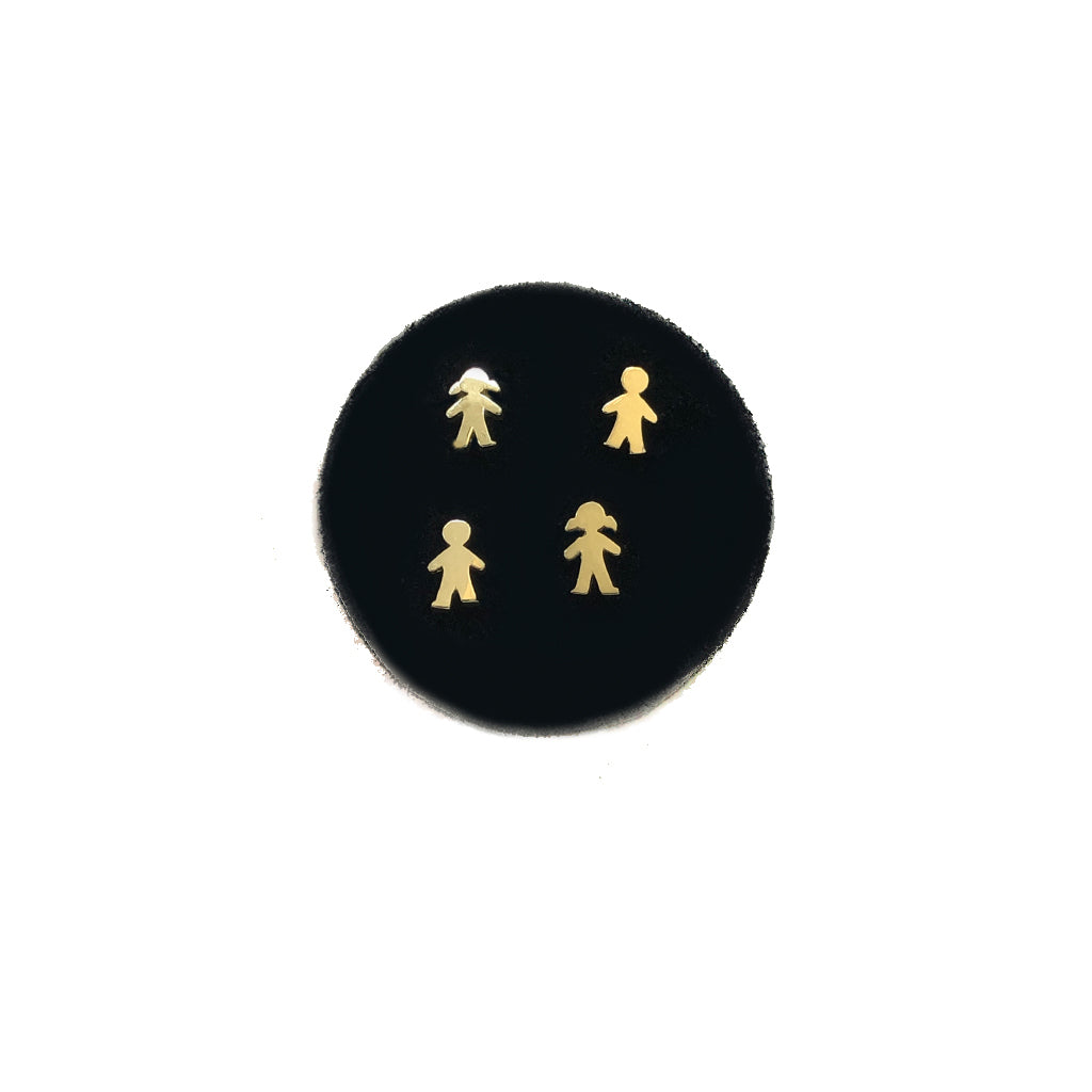 solid gold little people studs- comes in a pair -available in yellow or white gold
