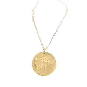 Lucky Elephant Necklace in 18K Yellow Gold Vermeil on a Solid Gold Delicate Chain