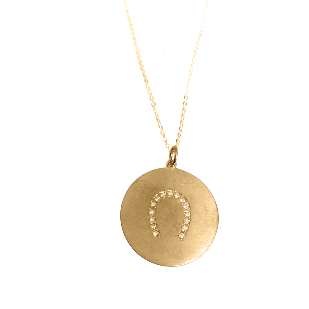 Lucky Horseshoe Necklace in 18K Yellow Gold Vermeil on a Solid Gold Delicate Chain