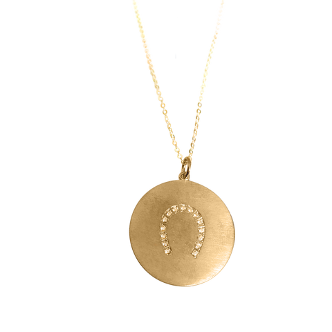 Lucky horseshoe necklace in 18k yellow gold vermeil on solid gold delicate chain