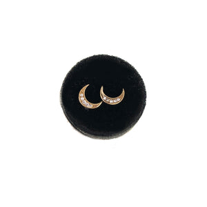 Moon Studs- Regular Size with CZ or Diamonds