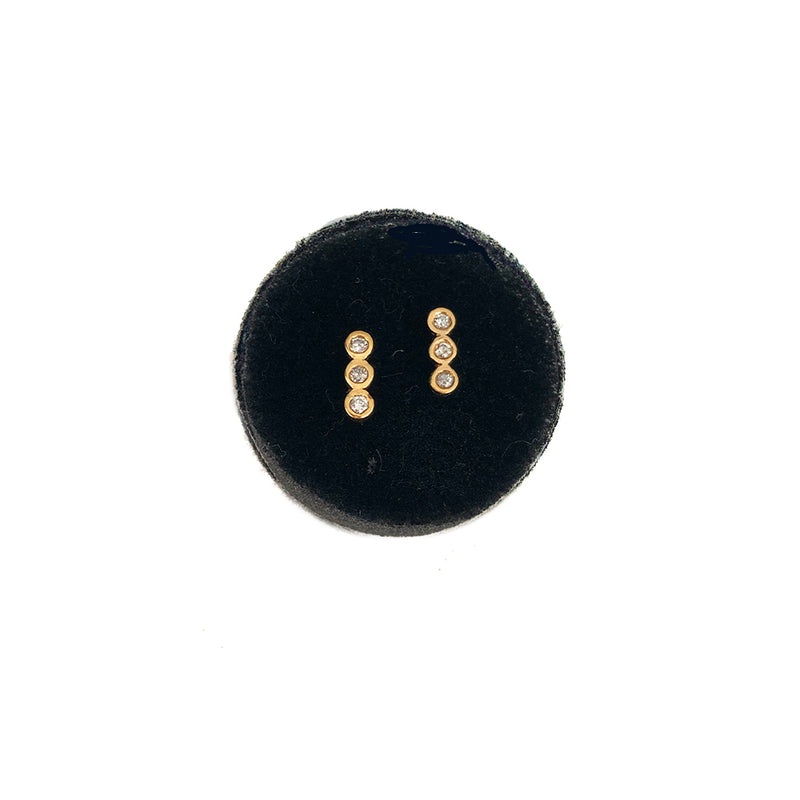 Three Babes Studs With Diamonds- Available In Solid Yellow Or White Gold