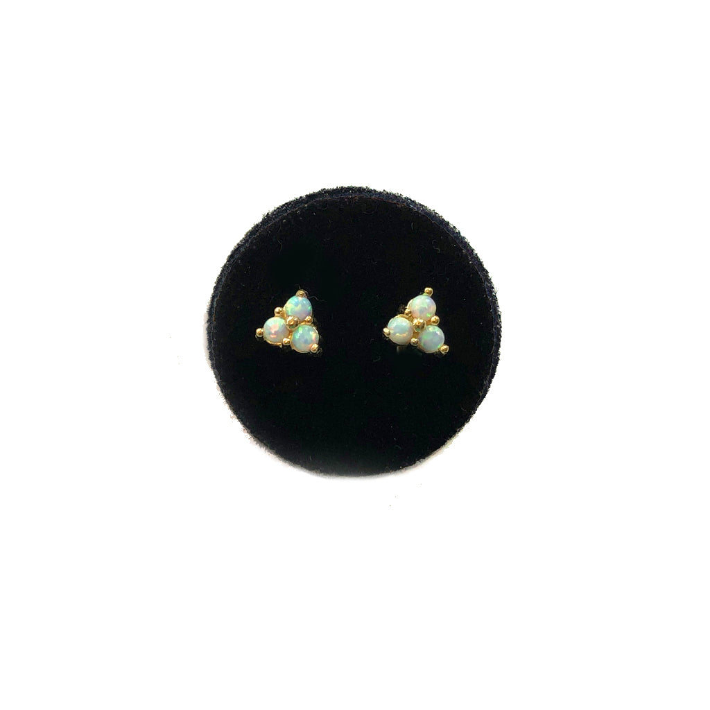 SOLID GOLD OPAL TRIANGLE STUDS- AVAILABLE IN YELLOW OR WHITE GOLD
