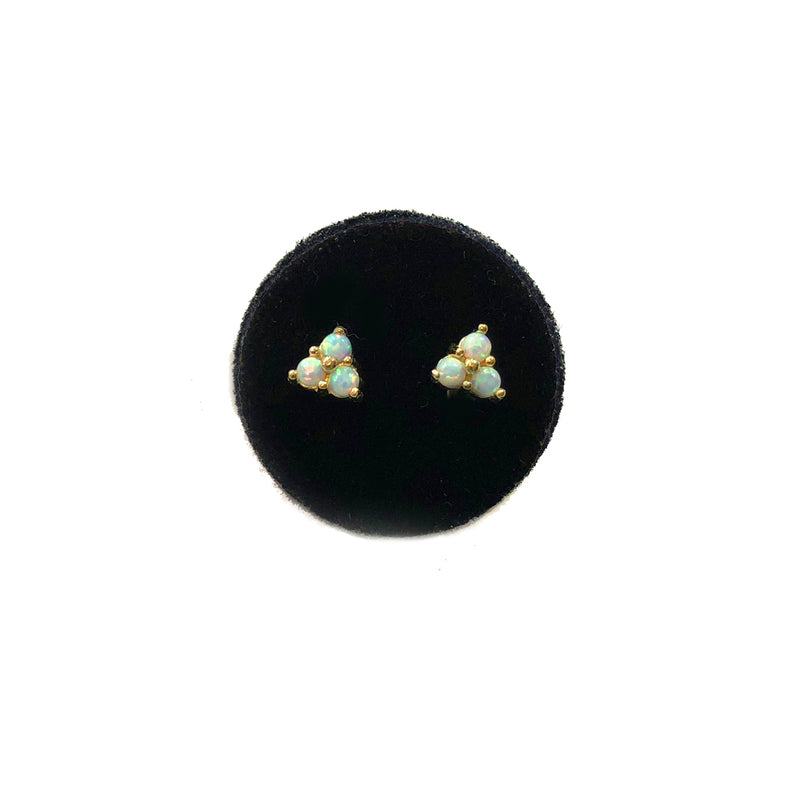 Opal Triangle Studs- Available In Solid Yellow Or White Gold