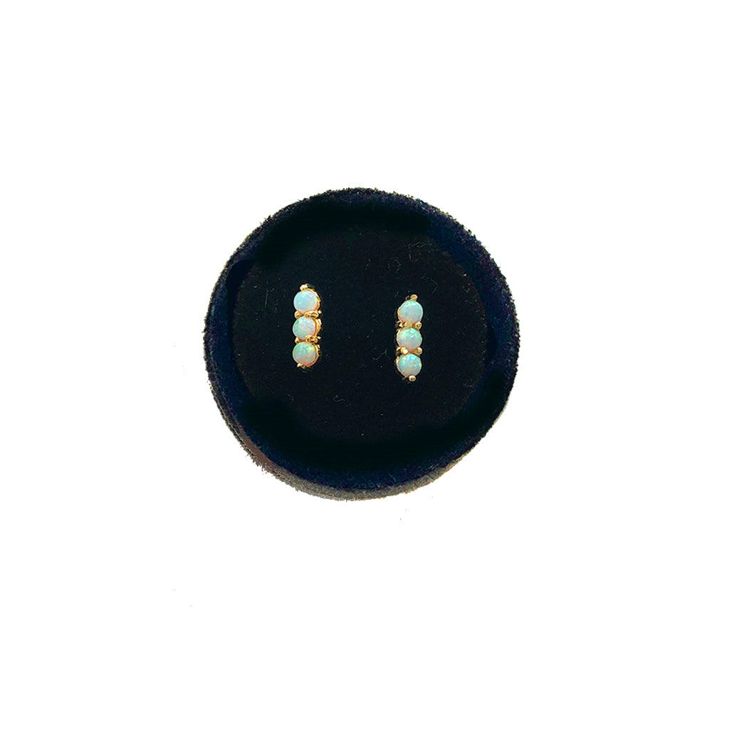 SOLID GOLD OPAL BAR STUDS- AVAILABLE IN YELLOW OR WHITE GOLD