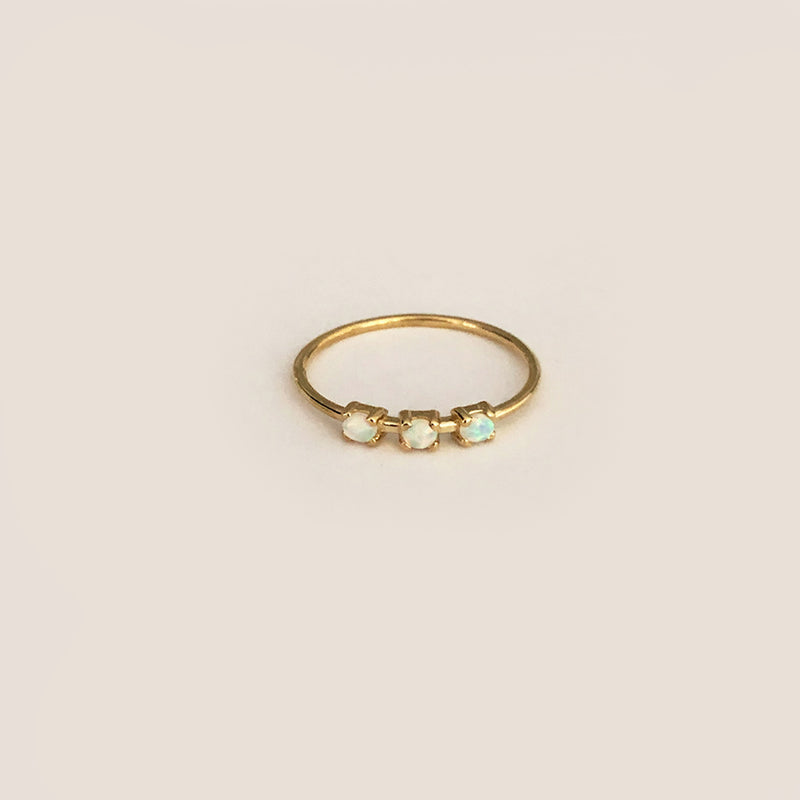 Tiny Three Baby Opal Ring - Solid Gold