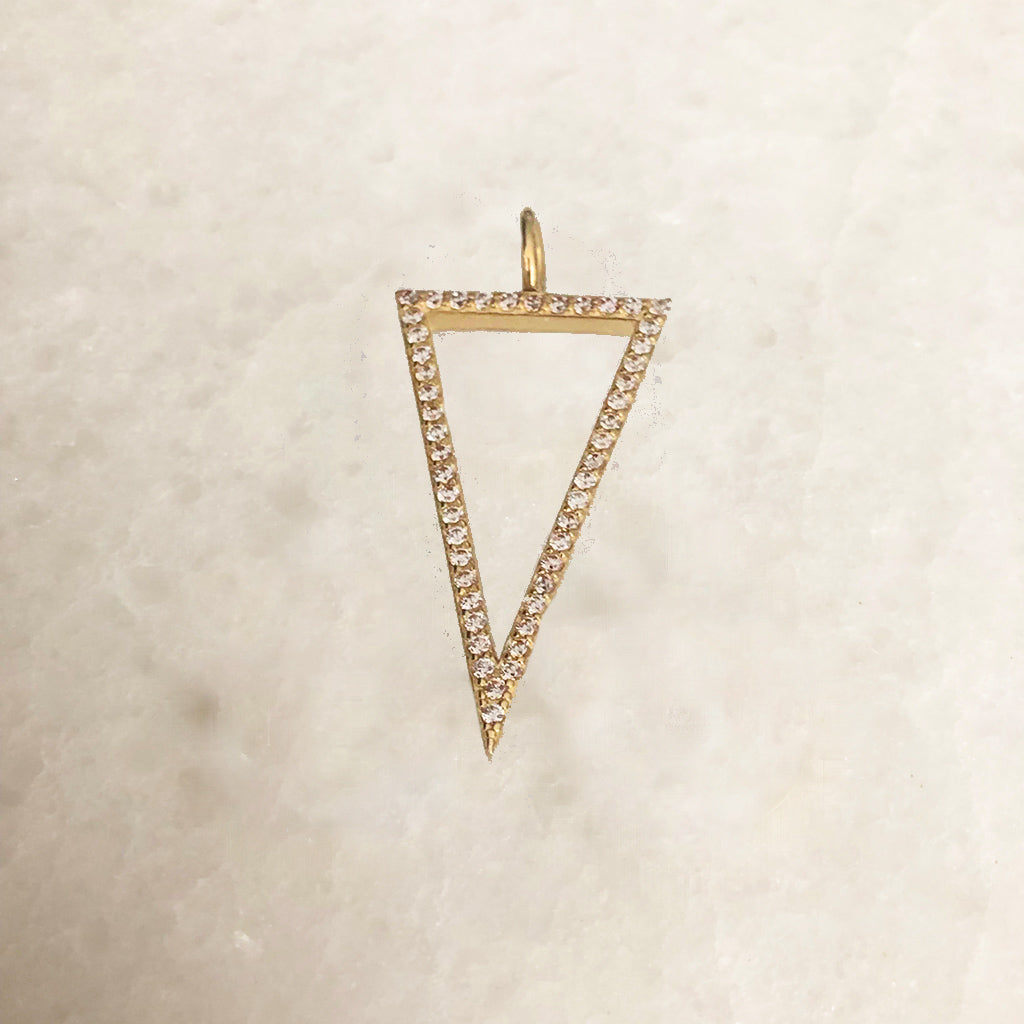 SOLID GOLD DIAMOND OR CZ OPEN TRIANGLE CHARM
