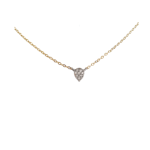 Tiny pavee diamond pear drop necklace in solid gold