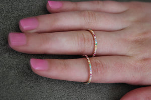 Colorful Bliss- Fun Stacking Rings In Pink Sterling Silver And Micro Pave Rainbow CZ